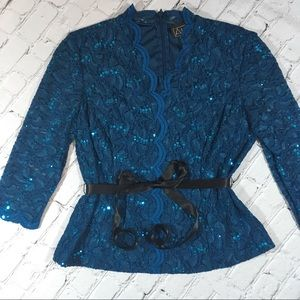 Alex evenings royal blue sequined top